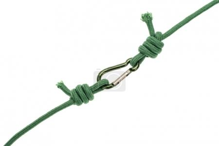 Photo for Close-up view of green ropes with carabiner isolated on white - Royalty Free Image