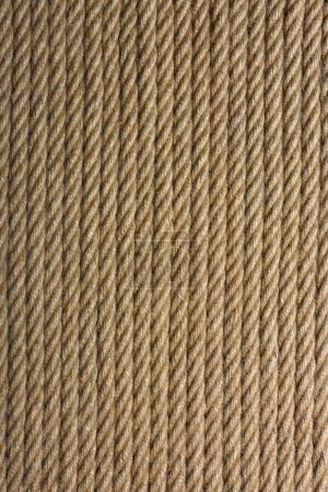 Photo pour Vue rapprochée du fond texturé brun de la corde verticale - image libre de droit