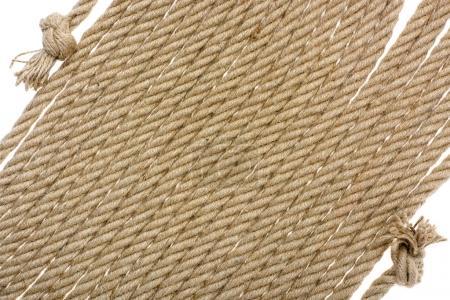 Photo pour Vue rapprochée de la corde avec nœuds isolés sur blanc - image libre de droit