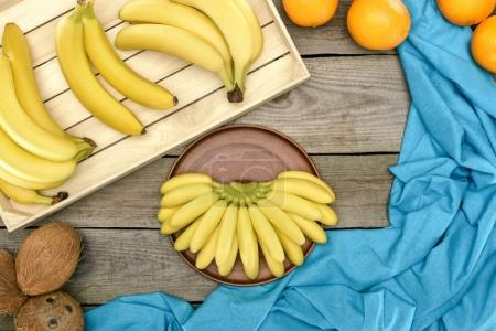 Bananas, oranges and coconuts