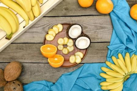tropical fruits on table