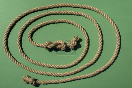 Photo for Close-up view of nautical rope with knots on green - Royalty Free Image