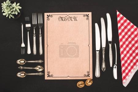 menu and vintage cutlery
