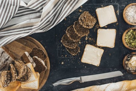 toasts with butter and multigrain bread