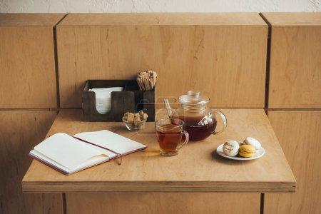tea set and macarons