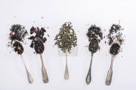 Photo pour Vue de dessus d'assortiment aromatique bio Tisane en cuillères sur fond gris - image libre de droit