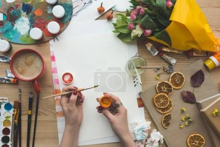 Photo for Cropped image of artist going to draw a paint - Royalty Free Image