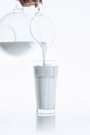 Photo pour Lait en versant de pot de lait en verre, sur blanc avec reflet - image libre de droit