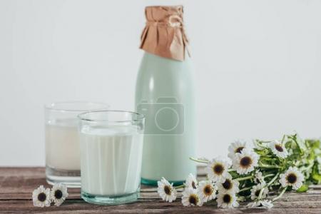 Photo pour Bouteille et deux verres de lait frais avec les fleurs de camomille sur table en bois - image libre de droit