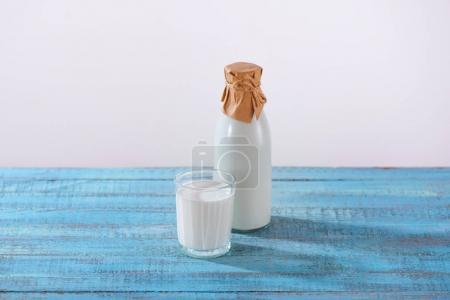 bottle and glass of fresh milk