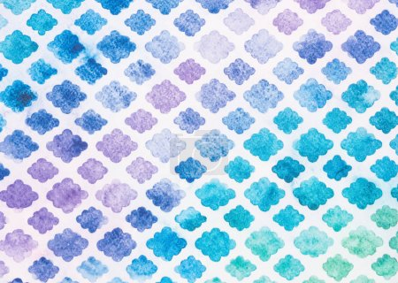 Photo for Set of watercolor convex rhombuses on white - Royalty Free Image