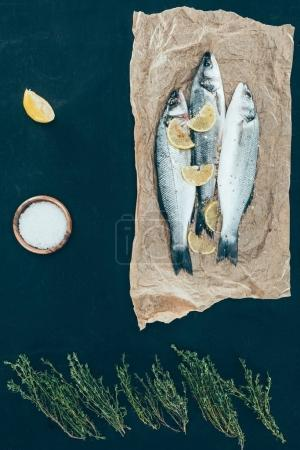 Photo for Top view of healthy fish with lemon slices on paper on black - Royalty Free Image