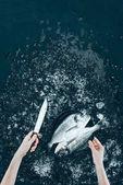 """Постер, картина, фотообои """"Обрезанный снимок человеческих рук с ножом и свежая рыба дорадо на черном"""""""