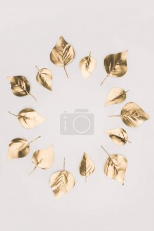 close up view of golden leaves arranged in circle isolated on grey