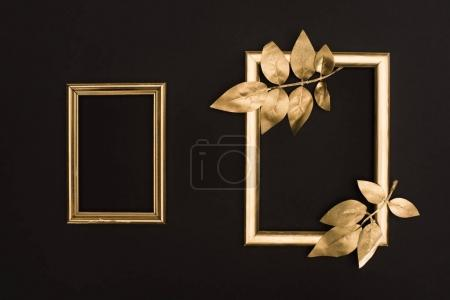 top view of golden photo frames and leaves isolated on black