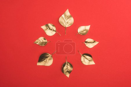 top view of arranged in circle golden leaves isolated on red