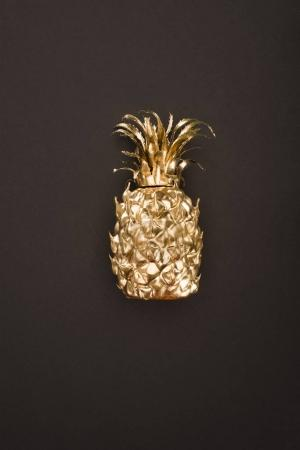close up view of golden pineapple isolated on black