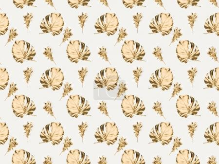 Photo for Full frame of various golden plants and leaves isolated on grey - Royalty Free Image