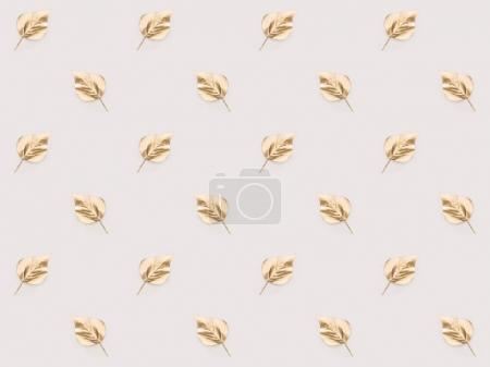 Foto de Marco completo del conjunto de hojas de oro dispuestos aislado en rosa - Imagen libre de derechos