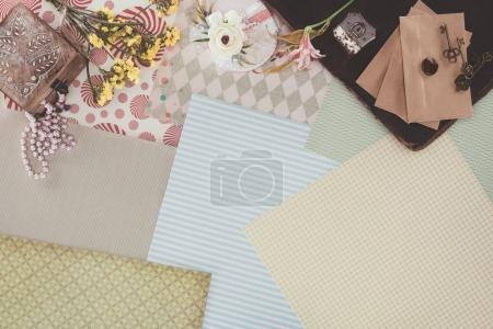 top view of retro objects over pack paper background