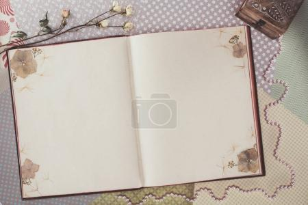 top view of opened book with copy space