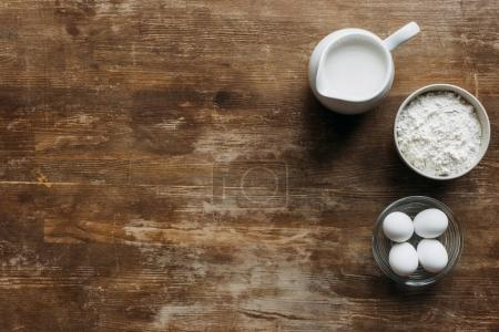 top view of ingredients for pastry on wooden table
