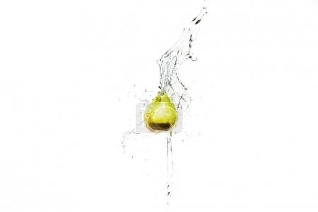 Photo for Fresh ripe pear in water splashes isolated on white - Royalty Free Image