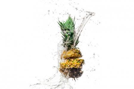 fresh sliced pineapple in water splashes isolated on white