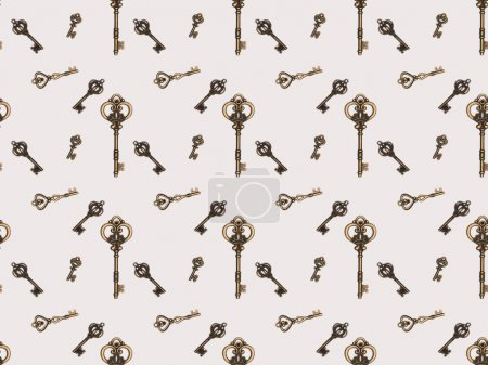 top view of different metal keys isolated on white
