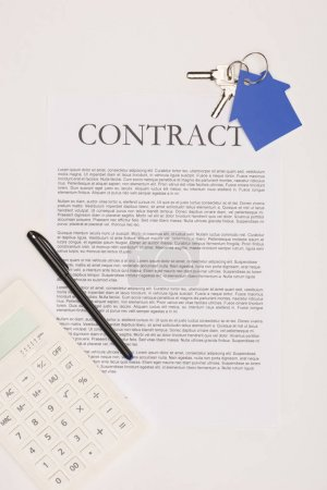 top view of contract, house buying concept isolated on white