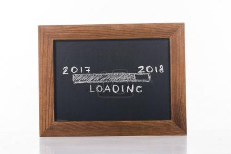 close up view of chalkboard with 2017 to 2018 loading lettering isolated on white