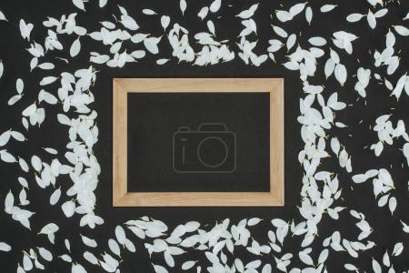 top view of wooden frame with petals over black background