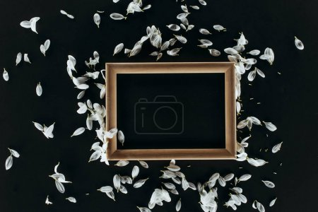 top view of wooden frame with petals isolated on black