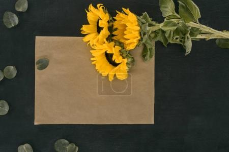 top view of blank paper envelope with sunflowers over black background
