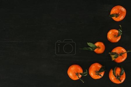 Photo pour Vue de dessus de tangerines mûrs sur une surface en bois noire - image libre de droit