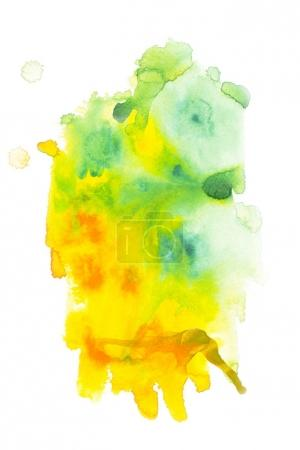 Abstract painting with green and yellow paint blots on white