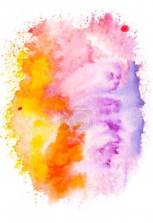Photo for Abstract painting with colorful bright watercolor paint blots on white - Royalty Free Image