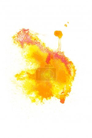 Abstract painting with red and yellow paint spots on white
