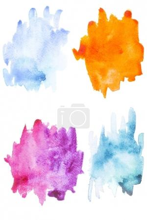 Abstract painting with blue, purple and orange paint blots and strokes on white