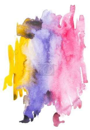 Abstract painting with colorful watercolour paint blots and strokes on white