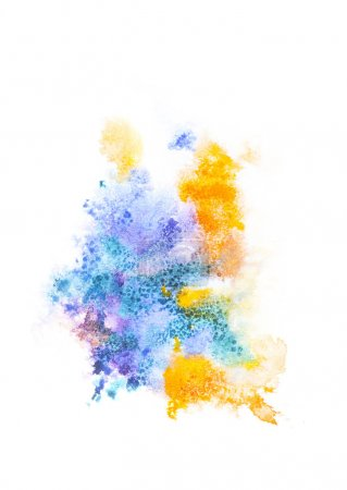 Abstract painting with bright colorful paint spots on white