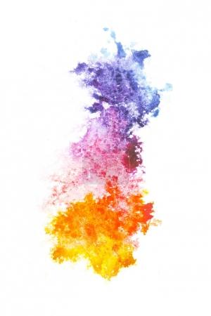 Photo for Abstract painting with colorful watercolour paint spots on white - Royalty Free Image