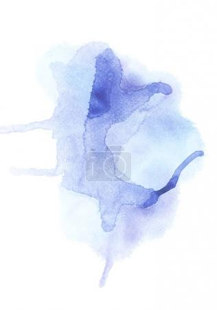 Abstract painting with blue watercolour paint blots on white