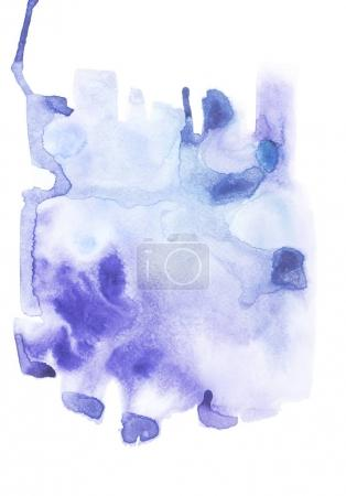 Abstract painting with blue watercolor paint blots and strokes on white