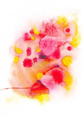 Photo for Abstract painting with bright colorful paint blots on white - Royalty Free Image