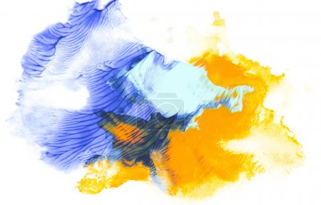 Abstract painting with blue and yellow paint strokes on white