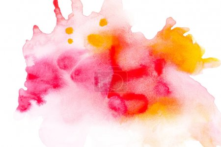 Photo for Abstract painting with bright red, pink and orange watercolour paint blots on white - Royalty Free Image