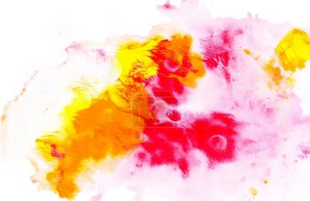 Photo for Abstract painting with bright colorful watercolor paint blots on white - Royalty Free Image