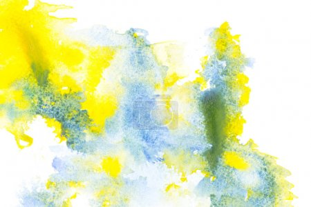 Photo for Abstract painting with blue and yellow watercolor paint blots on white - Royalty Free Image