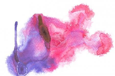 Photo pour Peinture abstraite avec taches de peinture aquarelle colorée sur blanc - image libre de droit